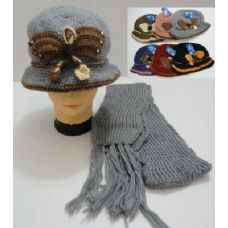 36 Units of Hand Knitted Fashion Hat & Scarf Set--Butterfly - Winter Sets Scarves , Hats & Gloves