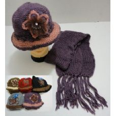48 Units of Hand Knitted Fashion Cap & Scarf Set--Lg Flower - Fashion Winter Hats