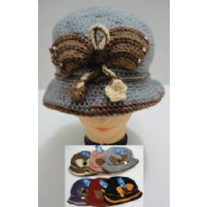 96 Units of Hand Knitted Fashion Hat--Butterfly - Fashion Winter Hats