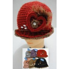 48 Units of Hand Knitted Fashion Hat--Heart & Feather - Fashion Winter Hats