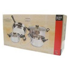 4 Units of 7 Pc Stainless Steel Cooking Set With Glass Lid - Stainless Steel Cookware Sets