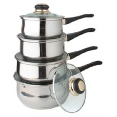 4 Units of 8 Pc Stainless Steel Sauce Pan Set With Lids - Stainless Steel Cookware Sets