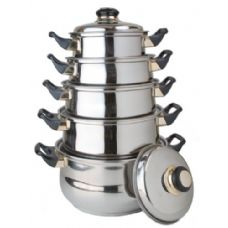 4 Units of 10 Pc Stainless Steel Cooking Set With Lids - Stainless Steel Cookware Sets
