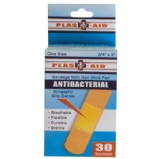 72 Units of Item# 990 30 Count Antibacterial Bandages - First Aid / Band Aids