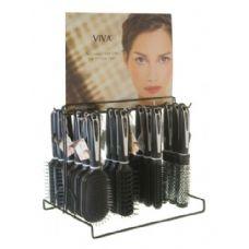 144 Units of Viva Black/White Hairbrush On Metal Display Rack - Hair Brushes & Combs