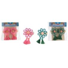 96 Units of 2 Piece Flower Curtain Clip Set - Curtains
