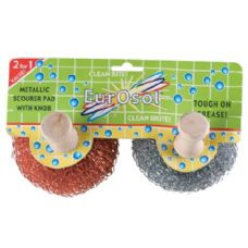 96 Units of 2 Pk Metallic Scourer Pads With Knobs - Cleaning