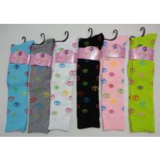120 Units of Ladies Knee High Socks 9-11 [Peace Signs] - Womens Knee Highs