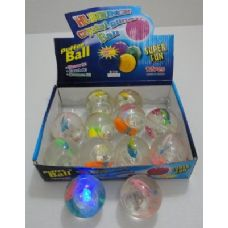 144 Units of 2.5inch Light Up Bouncing Glitter Ball-Fish - Balls