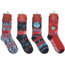 144 Units of Crew Christmas Socks - Womens Holiday Themed Socks