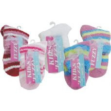 144 Units of Kids Fuzzy Sock - Girls Crew Socks