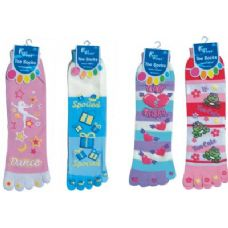 144 Units of Printed Toe Sock - Women's Toe Sock