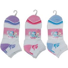 72 Units of 3 Pack Of Girls Ankle Sock Size 6-8 - Girls Ankle Sock