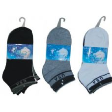 72 Units of 3 Pair Solid Ankle Sock For Kids Size 6-8 - Boys Crew Sock