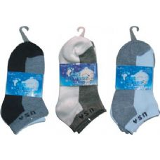 72 Units of 3 Pair Solid Ankle Sock For Kids Size 4-6 - Boys Crew Sock