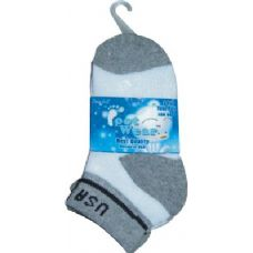 72 Units of 3 Pair Solid Cotton Ankle Sock For Kids Size 4-6 USA - Boys Crew Sock