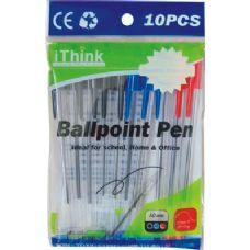 72 Units of 10 Piece Ballpoint Pen Asst Color - Pens