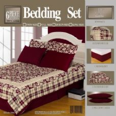 4 Units of 6 Piece Bed In A Bag Set Burgandy Queen Size - Bed Sheet Sets