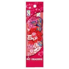 48 Units of 40 Ct. Valentine's Erasers - Erasers