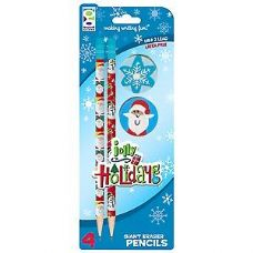 96 Units of 2 Ct Jolly Holiday Pencil with Eraser Toppers - Pencils