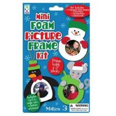 96 Units of Christmas Mini Foam Picture Frame Kit - Craft Kits