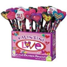 180 Units of Valentine Love Pencil with Giant Eraser - Pencils