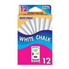 144 Units of 12 Ct  White Chalk Pack - CHALK,CHALKBOARDS,CRAYONS