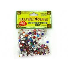 75 Units of 600 piece rhinestone set (assorted colors) - Rocks/Stones/Sand