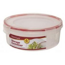 24 Units of 6 Piece Round Plastic Container with Click And Lock Lids - Food Storage Bags & Containers