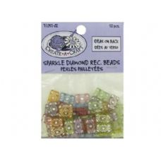 72 Units of Sparkle diamond rectangle beads, pack of 50