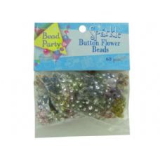 72 Units of Sparkle button flower beads, pack of 60
