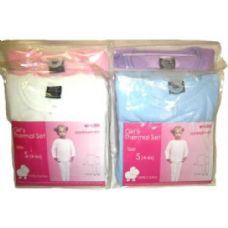 48 Units of Girls Thermal Underwear Sets - Girls Underwear and Pajamas