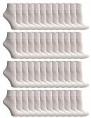 48 Units of SOCKSNBULK Value Pack of Cotton Ankle Socks Kids Size 4-6 White - Boys Ankle Sock