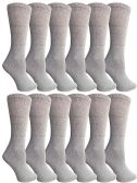 12 Units of SOCKSNBULK Bulk Pack Cotton Crew Socks, Size 9-11 (Gray) - Womens Crew Sock