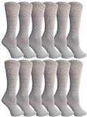 12 Units of SOCKSNBULK Bulk Pack Cotton Crew Socks, Size 9-11 (Gray) - Womens Crew Sock