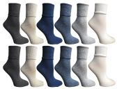 12 Units of SOCKSNBULK Womens Womens Cuff Bobby Socks Size 9-11 Assorted Colors - Womens Crew Sock