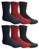 6 Units of Yacht & Smith Women's Casual Thermal Crew Socks, Assorted Colors (Size 9-11) - Womens Thermal Socks
