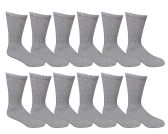 12 Units of SOCKSNBULK Value Pack of Cotton Crew Socks Kids Size 6-8 Gray - Boys Crew Sock