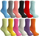 12 Units of SOCKSNBULK Womens Fuzzy Socks Soft Warm Winter Comfort Socks Multi color, Solid Fuzzy , 9-11 - Womens Fuzzy Socks