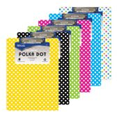 48 Units of Standard Size Polka Dot Paperboard Clipboard w/ Low Profile Clip - Clipboards and Binders