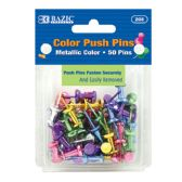 24 Units of Assorted Metallic Color Push Pins (50/Pack) - Straight Pins