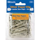 24 Units of Jumbo (50mm) Silver Paper Clip (100/Pack) - Clips and Fasteners