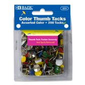 24 Units of Assorted Color Thumb Tack (200/Pack) - Push Pins and Tacks