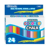 24 Units of Dustless Assorted Color Chalk (24/Box) - Chalk,Chalkboards,Crayons