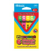 24 Units of 6 Fluorescent Color Triangle Crayon - Chalk,Chalkboards,Crayons
