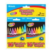24 Units of 16 Color Premium Quality Crayon (2/Pack) - Chalk,Chalkboards,Crayons