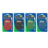 36 Units of Multicolor 8-Digit Grip Calculator w/ Retractable Pen - Calculators