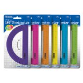"24 Units of BAZIC Assorted Color Semicircular 6"" Protractor - Classroom Learning Aids"