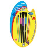 24 Units of Asst. Size Kid's Watercolor Paint Brush Set (9/Pack)
