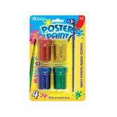 24 Units of 4 Color 18ml Glitter Poster Paint w/ Brush - Craft Glue & Glitter